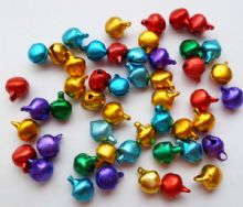 Bell charms. Mixed colours. Pack of 50 x 6mm.